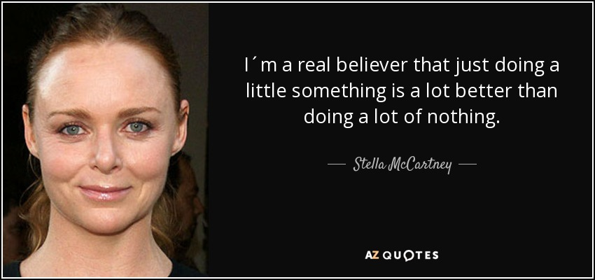 I´m a real believer that just doing a little something is a lot better than doing a lot of nothing. - Stella McCartney