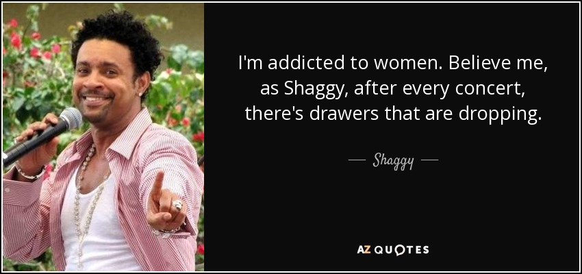I'm addicted to women. Believe me, as Shaggy, after every concert, there's drawers that are dropping. - Shaggy