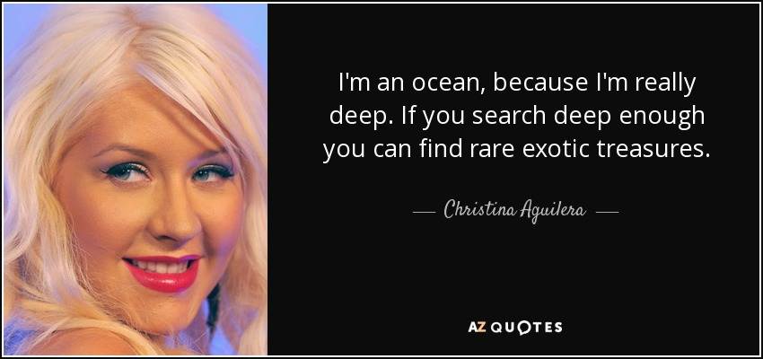 I'm an ocean, because I'm really deep. If you search deep enough you can find rare exotic treasures. - Christina Aguilera