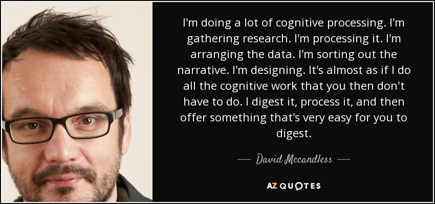 I'm doing a lot of cognitive processing. I'm gathering research. I'm processing it. I'm arranging the data. I'm sorting out the narrative. I'm designing. It's almost as if I do all the cognitive work that you then don't have to do. I digest it, process it, and then offer something that's very easy for you to digest. - David Mccandless