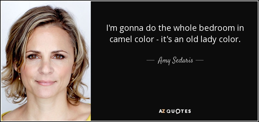 I'm gonna do the whole bedroom in camel color - it's an old lady color. - Amy Sedaris