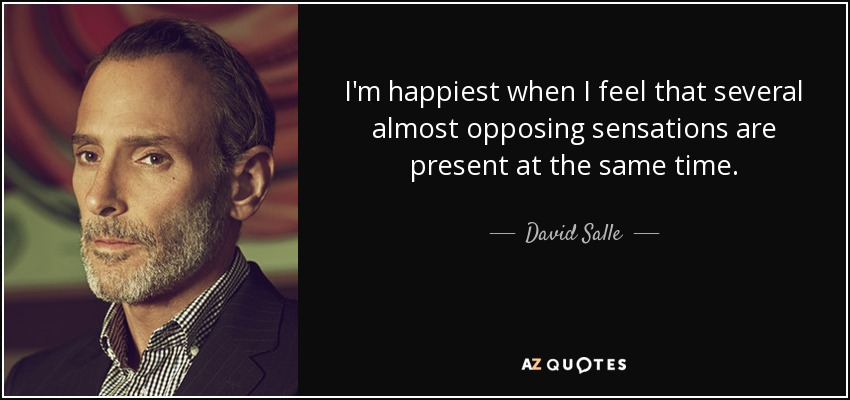 I'm happiest when I feel that several almost opposing sensations are present at the same time. - David Salle