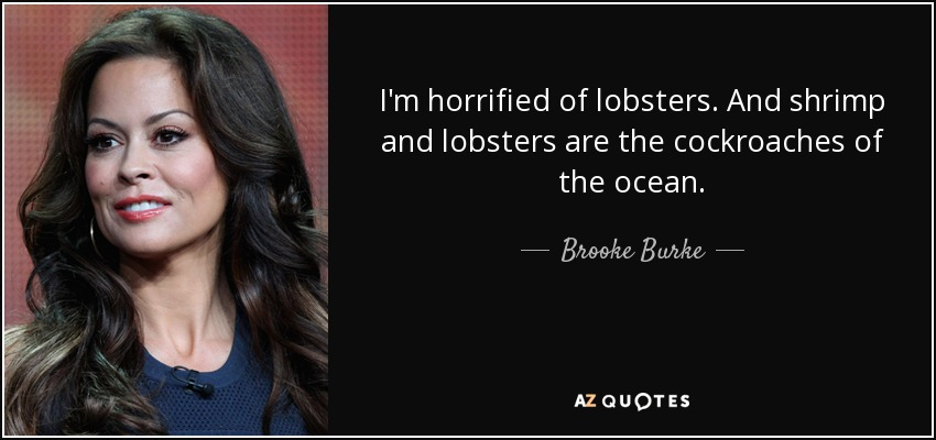 I'm horrified of lobsters. And shrimp and lobsters are the cockroaches of the ocean. - Brooke Burke