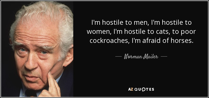 I'm hostile to men, I'm hostile to women, I'm hostile to cats, to poor cockroaches, I'm afraid of horses. - Norman Mailer