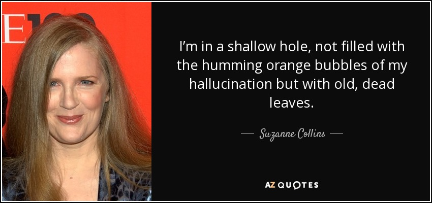 I'm in a shallow hole, not filled with the humming orange bubbles of my hallucination but with old, dead leaves. - Suzanne Collins