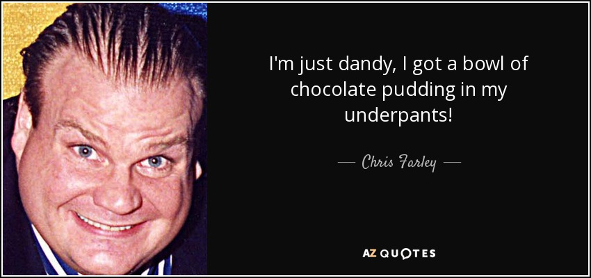 I'm just dandy, I got a bowl of chocolate pudding in my underpants! - Chris Farley