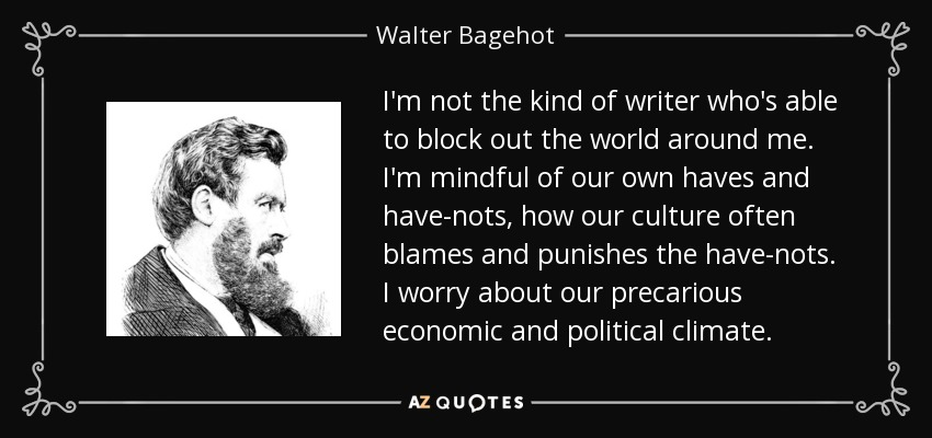 I'm not the kind of writer who's able to block out the world around me. I'm mindful of our own haves and have-nots, how our culture often blames and punishes the have-nots. I worry about our precarious economic and political climate. - Walter Bagehot