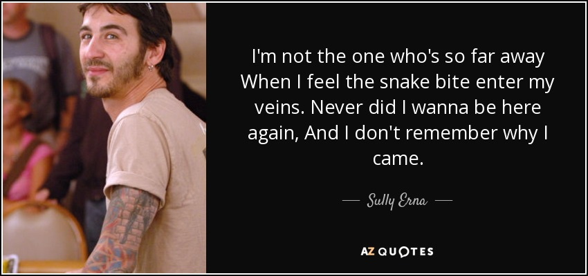 I'm not the one who's so far away When I feel the snake bite enter my veins. Never did I wanna be here again, And I don't remember why I came. - Sully Erna