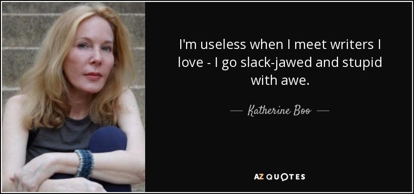 I'm useless when I meet writers I love - I go slack-jawed and stupid with awe. - Katherine Boo
