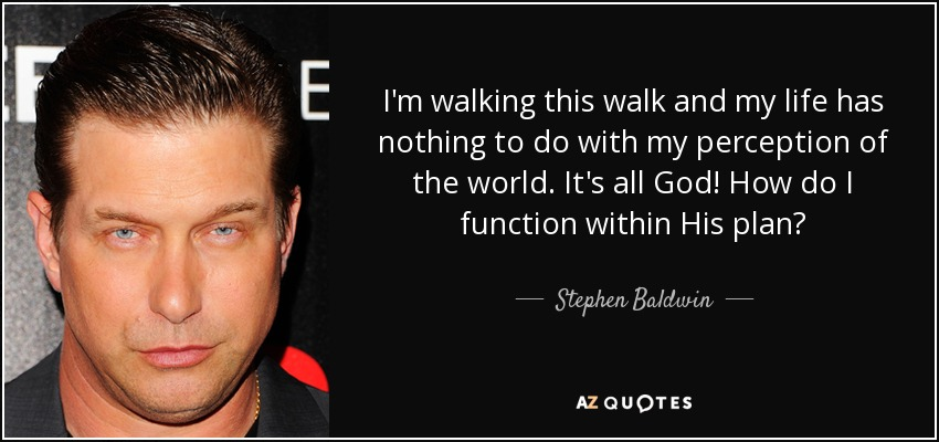 I'm walking this walk and my life has nothing to do with my perception of the world. It's all God! How do I function within His plan? - Stephen Baldwin