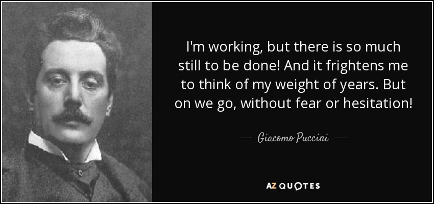 I'm working, but there is so much still to be done! And it frightens me to think of my weight of years. But on we go, without fear or hesitation! - Giacomo Puccini