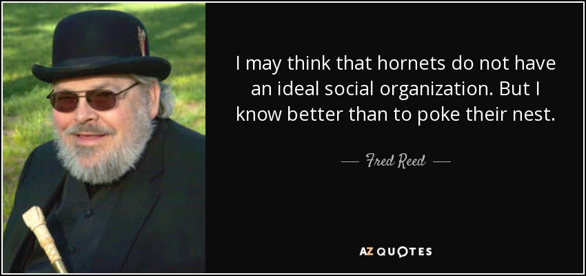 I may think that hornets do not have an ideal social organization. But I know better than to poke their nest. - Fred Reed
