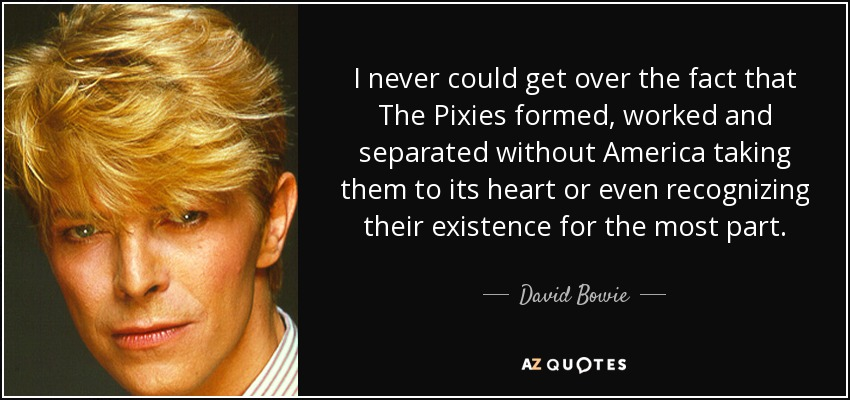 I never could get over the fact that The Pixies formed, worked and separated without America taking them to its heart or even recognizing their existence for the most part. - David Bowie