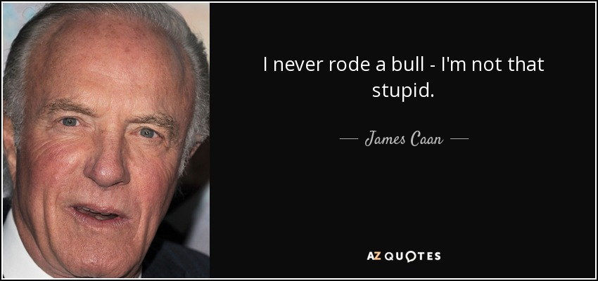 I never rode a bull - I'm not that stupid. - James Caan