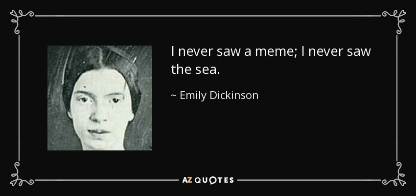 I never saw a meme; I never saw the sea. - Emily Dickinson
