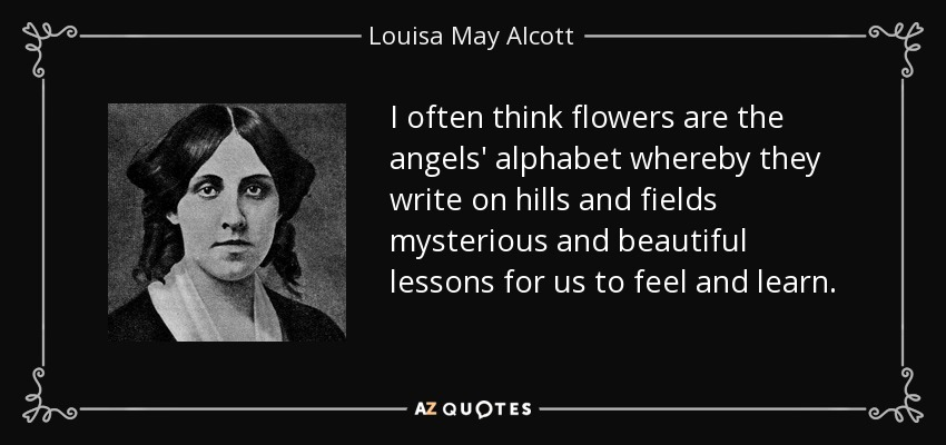 I often think flowers are the angels' alphabet whereby they write on hills and fields mysterious and beautiful lessons for us to feel and learn. - Louisa May Alcott