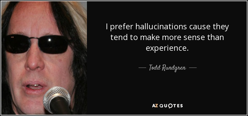 I prefer hallucinations cause they tend to make more sense than experience. - Todd Rundgren