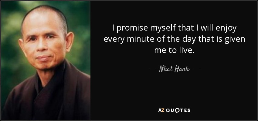 I promise myself that I will enjoy every minute of the day that is given me to live. - Nhat Hanh