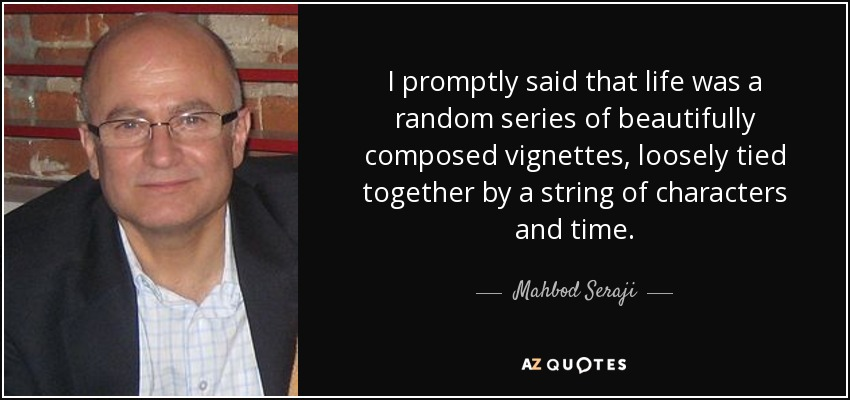 I promptly said that life was a random series of beautifully composed vignettes, loosely tied together by a string of characters and time. - Mahbod Seraji