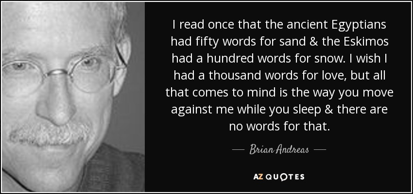 I read once that the ancient Egyptians had fifty words for sand & the Eskimos had a hundred words for snow. I wish I had a thousand words for love, but all that comes to mind is the way you move against me while you sleep & there are no words for that. - Brian Andreas