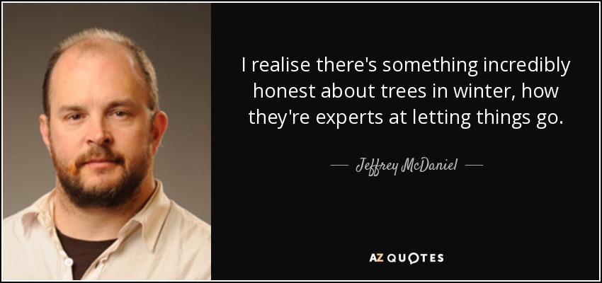 I realise there's something incredibly honest about trees in winter, how they're experts at letting things go. - Jeffrey McDaniel