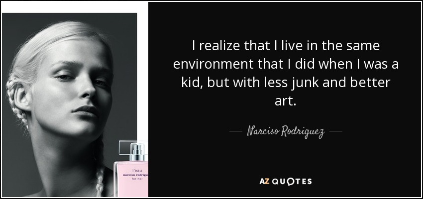 I realize that I live in the same environment that I did when I was a kid, but with less junk and better art. - Narciso Rodriguez