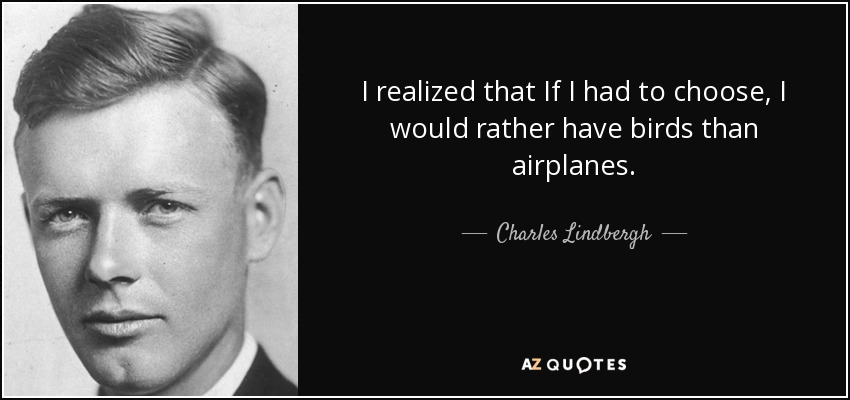 I realized that If I had to choose, I would rather have birds than airplanes. - Charles Lindbergh
