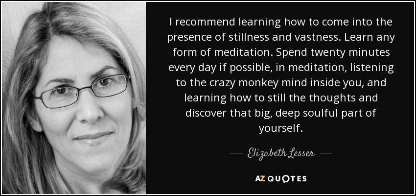I recommend learning how to come into the presence of stillness and vastness. Learn any form of meditation. Spend twenty minutes every day if possible, in meditation, listening to the crazy monkey mind inside you, and learning how to still the thoughts and discover that big, deep soulful part of yourself. - Elizabeth Lesser