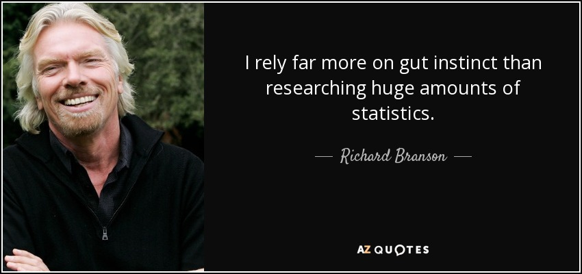 I rely far more on gut instinct than researching huge amounts of statistics. - Richard Branson