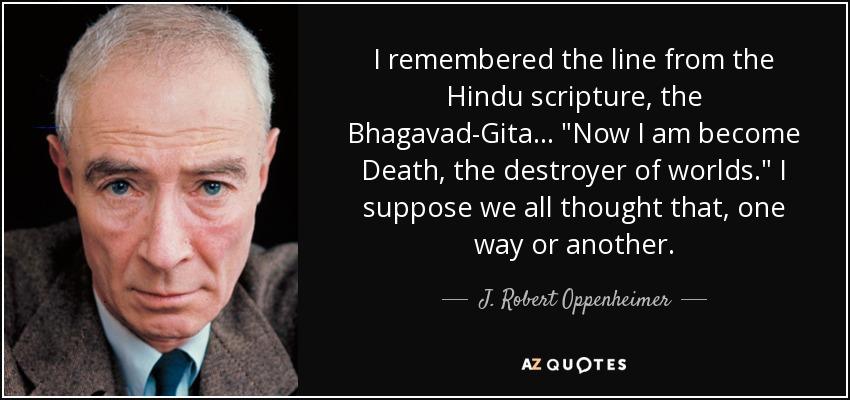ผลการค้นหารูปภาพสำหรับ j robert oppenheimer bhagavad gita