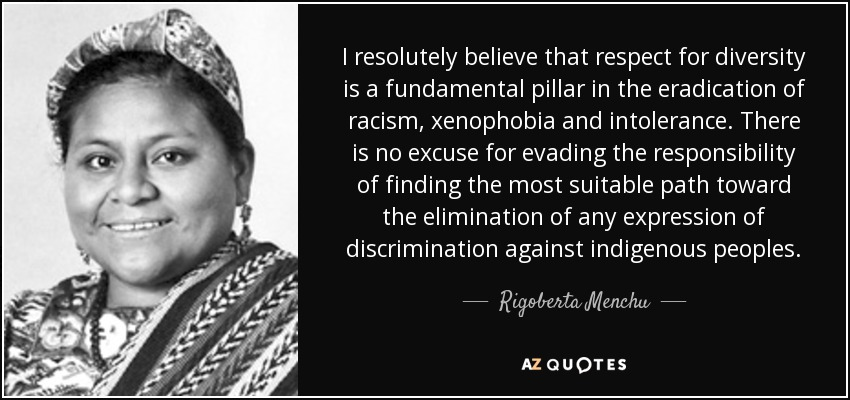 I resolutely believe that respect for diversity is a fundamental pillar in the eradication of racism, xenophobia and intolerance. There is no excuse for evading the responsibility of finding the most suitable path toward the elimination of any expression of discrimination against indigenous peoples. - Rigoberta Menchu