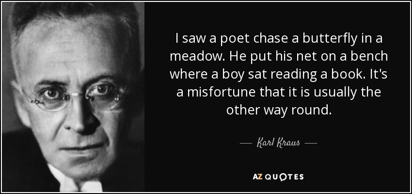 I saw a poet chase a butterfly in a meadow. He put his net on a bench where a boy sat reading a book. It's a misfortune that it is usually the other way round. - Karl Kraus