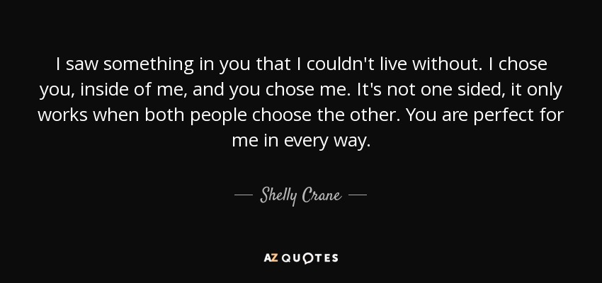 Shelly Crane Quote I Saw Something In You That I Couldnt Live