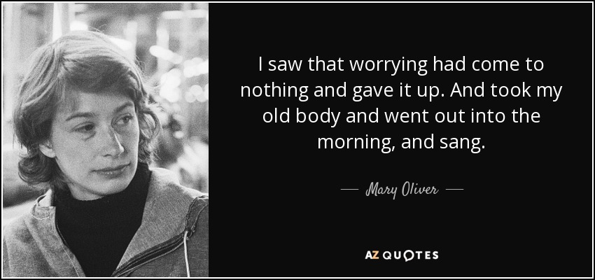 I saw that worrying had come to nothing and gave it up. And took my old body and went out into the morning, and sang. - Mary Oliver