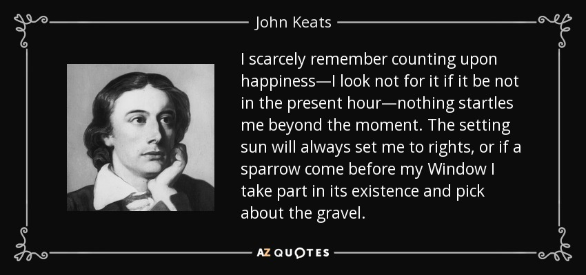 I scarcely remember counting upon happiness—I look not for it if it be not in the present hour—nothing startles me beyond the moment. The setting sun will always set me to rights, or if a sparrow come before my Window I take part in its existence and pick about the gravel. - John Keats