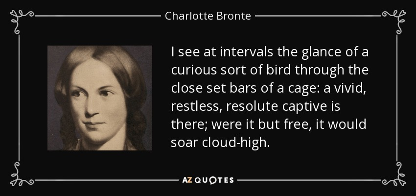 I see at intervals the glance of a curious sort of bird through the close set bars of a cage: a vivid, restless, resolute captive is there; were it but free, it would soar cloud-high. - Charlotte Bronte