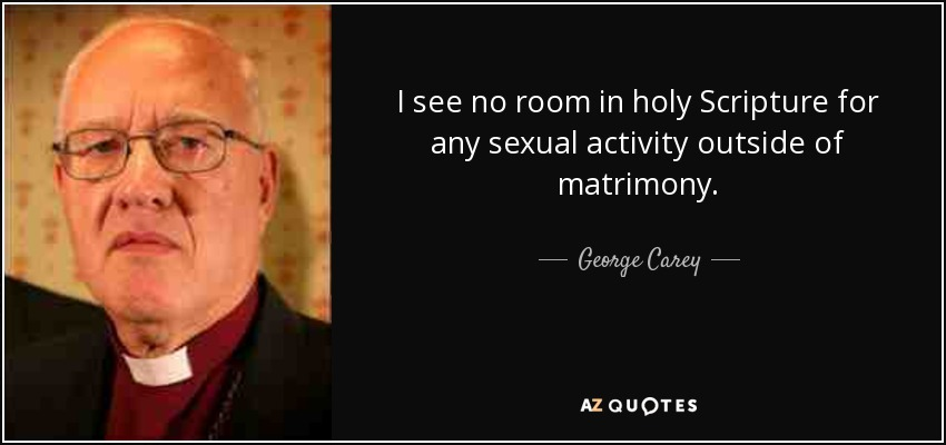 I see no room in holy Scripture for any sexual activity outside of matrimony. - George Carey