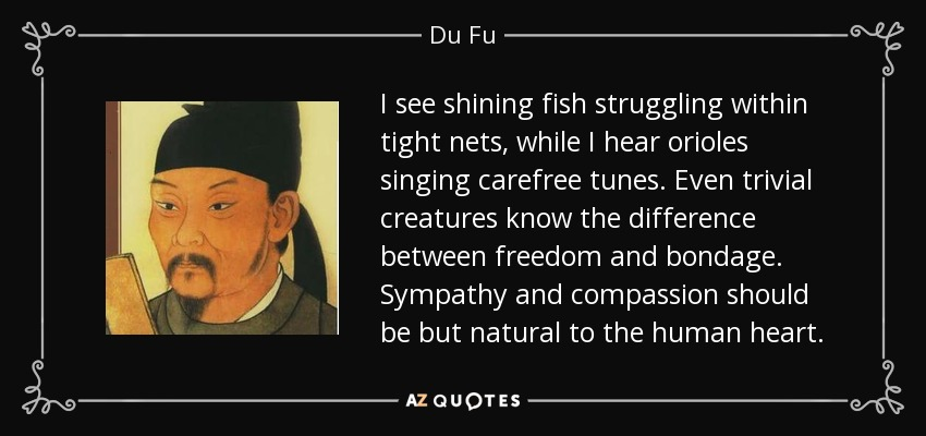 I see shining fish struggling within tight nets, while I hear orioles singing carefree tunes. Even trivial creatures know the difference between freedom and bondage. Sympathy and compassion should be but natural to the human heart. - Du Fu