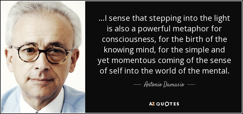 ...I sense that stepping into the light is also a powerful metaphor for consciousness, for the birth of the knowing mind, for the simple and yet momentous coming of the sense of self into the world of the mental. - Antonio Damasio