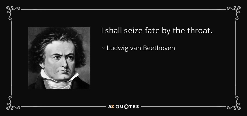 I shall seize fate by the throat. - Ludwig van Beethoven