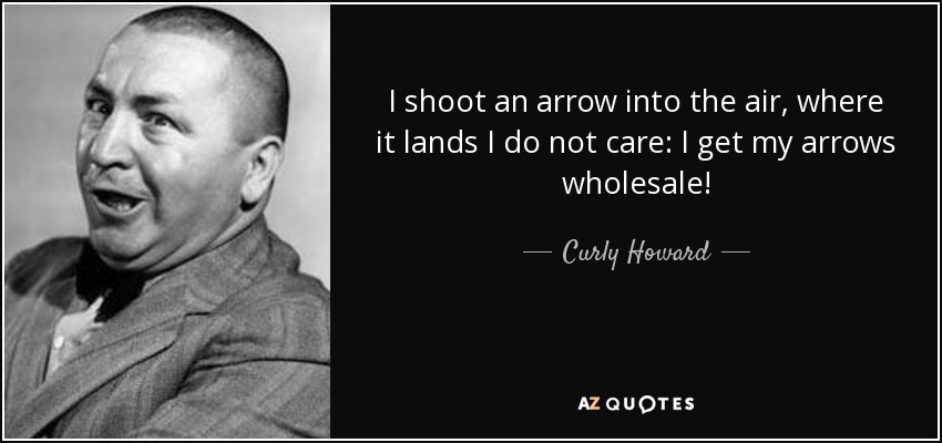 I shoot an arrow into the air, where it lands I do not care: I get my arrows wholesale! - Curly Howard