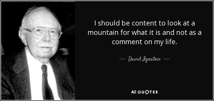 I should be content to look at a mountain for what it is and not as a comment on my life. - David Ignatow