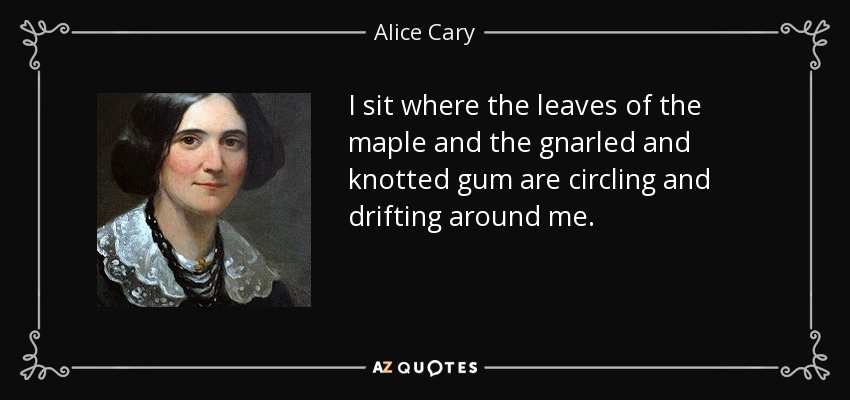 I sit where the leaves of the maple and the gnarled and knotted gum are circling and drifting around me. - Alice Cary