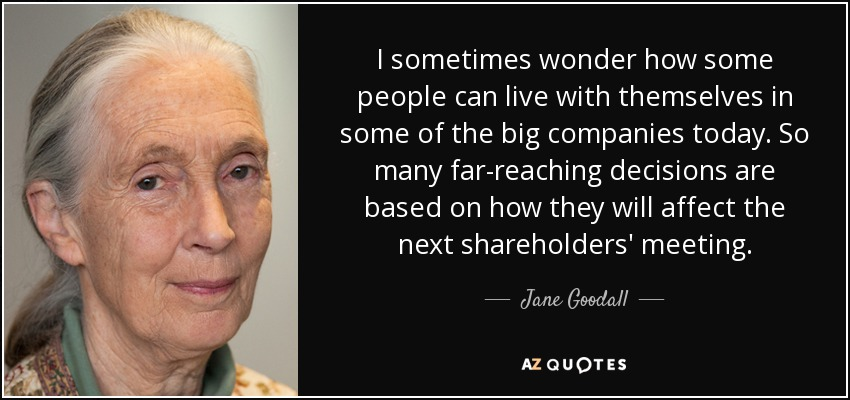 I sometimes wonder how some people can live with themselves in some of the big companies today. So many far-reaching decisions are based on how they will affect the next shareholders' meeting. - Jane Goodall