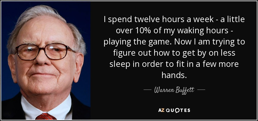I spend twelve hours a week - a little over 10% of my waking hours - playing the game. Now I am trying to figure out how to get by on less sleep in order to fit in a few more hands. - Warren Buffett