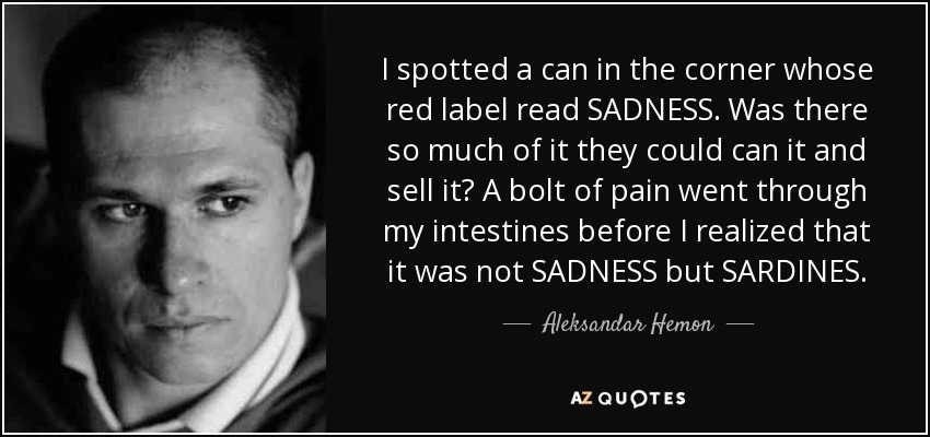 I spotted a can in the corner whose red label read SADNESS. Was there so much of it they could can it and sell it? A bolt of pain went through my intestines before I realized that it was not SADNESS but SARDINES. - Aleksandar Hemon