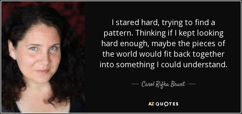 I stared hard, trying to find a pattern. Thinking if I kept looking hard enough, maybe the pieces of the world would fit back together into something I could understand. - Carol Rifka Brunt