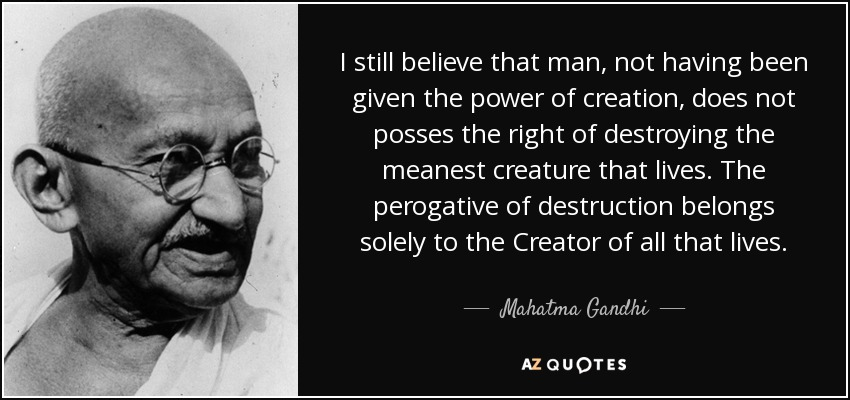 I still believe that man, not having been given the power of creation, does not posses the right of destroying the meanest creature that lives. The perogative of destruction belongs solely to the Creator of all that lives. - Mahatma Gandhi