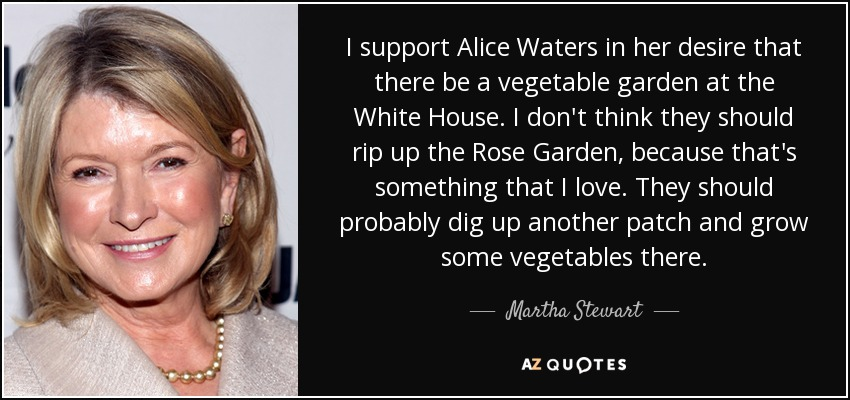 I support Alice Waters in her desire that there be a vegetable garden at the White House. I don't think they should rip up the Rose Garden, because that's something that I love. They should probably dig up another patch and grow some vegetables there. - Martha Stewart