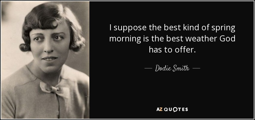 I suppose the best kind of spring morning is the best weather God has to offer. - Dodie Smith